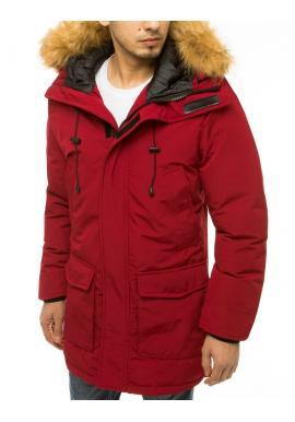 Bordová zimní bunda s kapucí pro pány