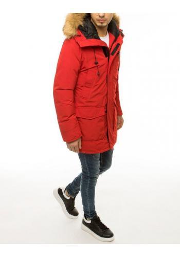 Zimní pánská bunda červené barvy s kapucí
