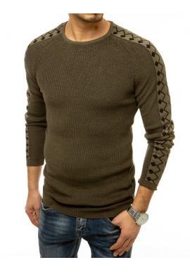 Kaki módní svetr se vzorovanými rukávy pro pány