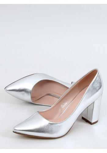 Metalické dámské lodičky stříbrné barvy na stabilním podpatku