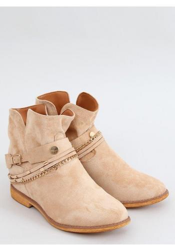 Dámské semišové boty na skrytém podpatku v béžové barvě