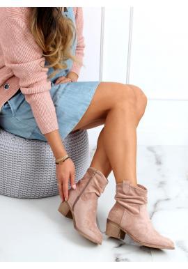 Béžovo-růžové krátké kozačky na nízkém podpatku pro dámy