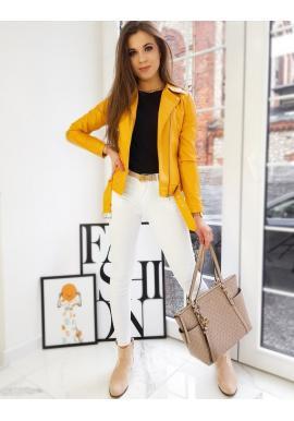 Koženková dámská bunda žluté barvy s prošíváním