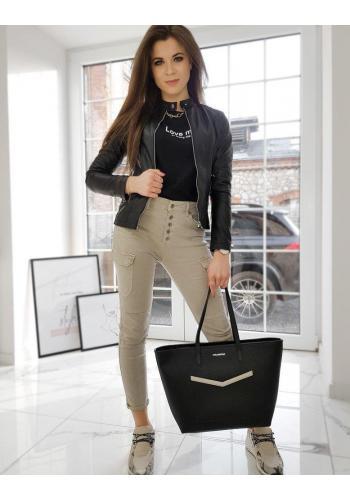 Dámská koženková bunda se stojacím límcem v černé barvě