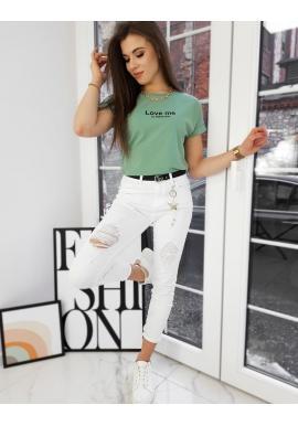 Dámské klasické tričko s malým nápisem v zelené barvě