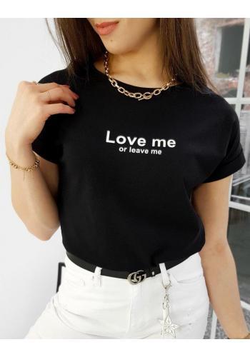 Černé klasické tričko s malým nápisem pro dámy