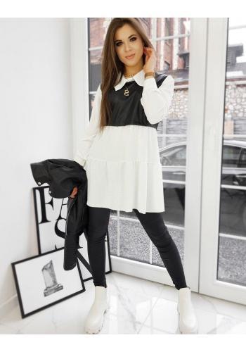 Bílé košilové šaty s vložkou z ekokůže pro dámy