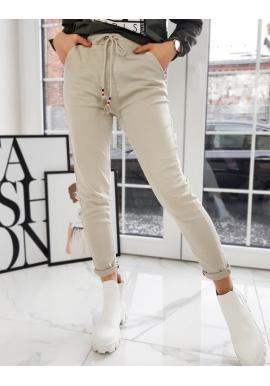 Sportovní dámské kalhoty béžové barvy s vyšším pasem
