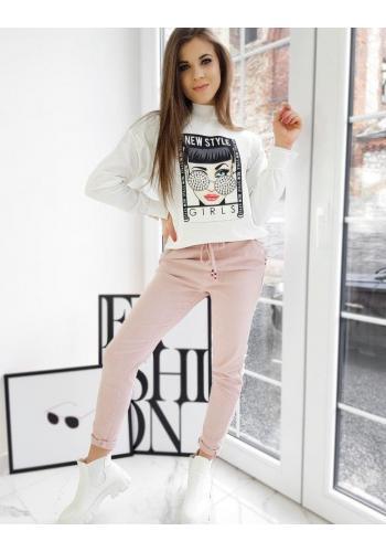 Dámské sportovní kalhoty s vyšším pasem v růžové barvě