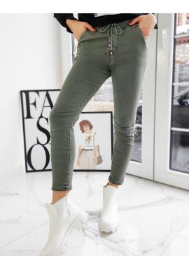 Sportovní dámské kalhoty olivové barvy s vyšším pasem