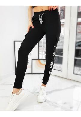 Dámské elastické kalhoty s potiskem v černé barvě