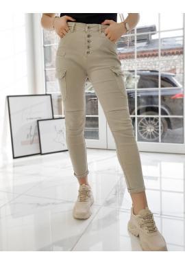 Dámské stylové kalhoty s vysokým pasem v béžové barvě