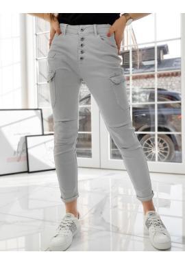 Světle šedé stylové kalhoty s vysokým pasem pro dámy