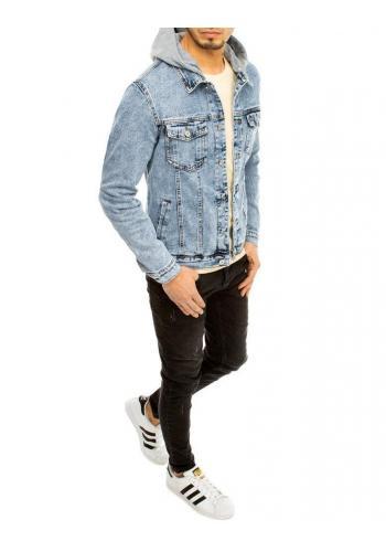 Pánská riflová bunda s kapucí v světle modré barvě
