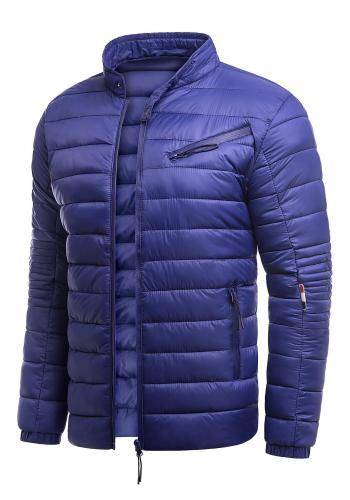 Jarní pánská bunda modré barvy s prošíváním