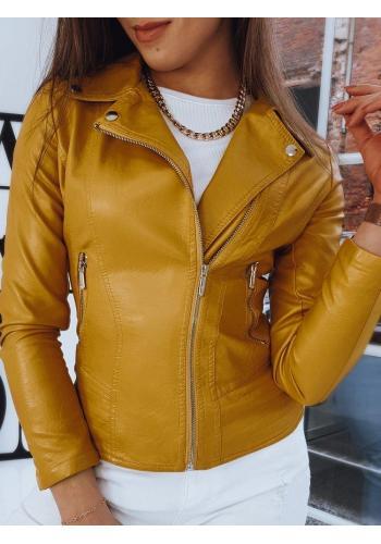 Žlutá kožená bunda s prošíváním pro dámy