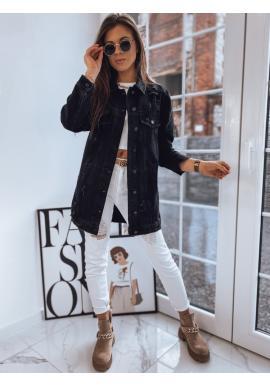 Dlouhá dámská riflová bunda černé barvy s dírami