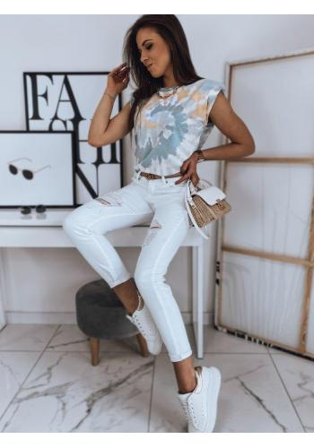 Klasické dámské tričko světle modré barvy s barevným motivem