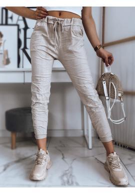Dámské pohodlné kalhoty s vázáním v pase v béžové barvě