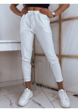 Bílé pohodlné kalhoty s vázáním v pase pro dámy