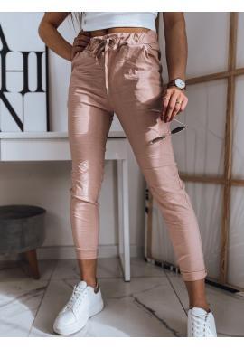 Dámské pohodlné kalhoty s vázáním v pase v růžové barvě