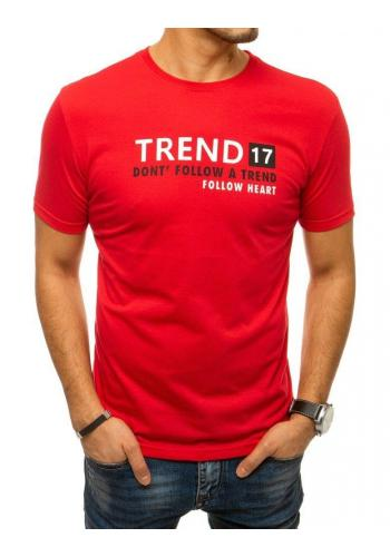 Červené bavlněné triko s nápisem pro pány