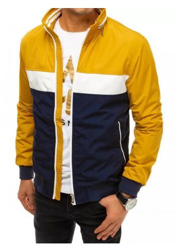 Pánská jarní bunda se skrytou kapucí ve žluté barvě