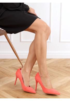 Korálové semišové lodičky na štíhlém podpatku pro dámy