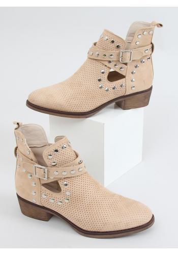 Semišové dámské boty béžové barvy s vybíjením