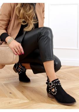 Černé semišové boty s vybíjením pro dámy