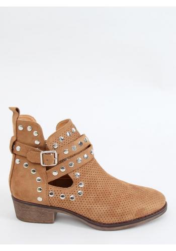 Dámské semišové boty s vybíjením v hnědé barvě
