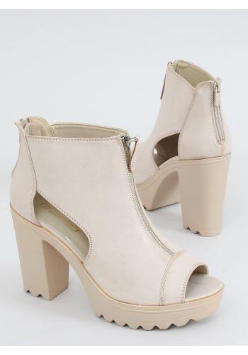 Kotníkové dámské boty béžové barvy na stabilním podpatku