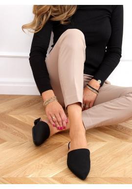 Dámské semišové pantofle se špičatými špičkami v černé barvě