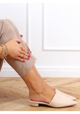 Semišové dámské pantofle béžové barvy se špičatými špičkami