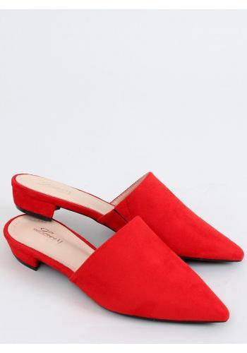 Červené semišové pantofle se špičatými špičkami pro dámy