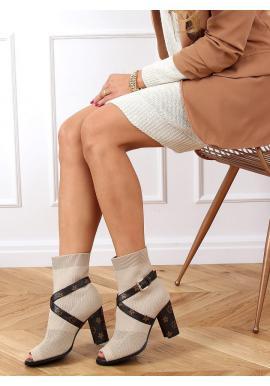 Stylové dámské kozačky béžové barvy na stabilním podpatku