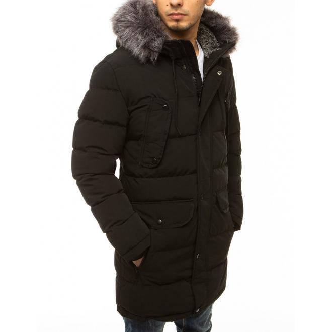 Pánská dlouhá bunda na zimu v černé barvě