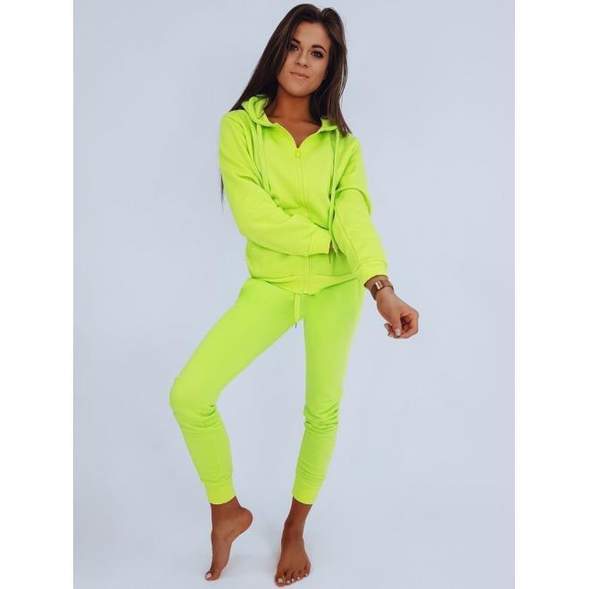 Tepláková dámská souprava zelené barvy na zip
