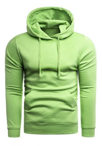 Klasická pánská mikina zelené barvy s kapucí