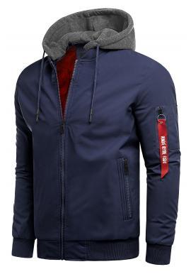 Tmavě modrá přechodná bunda s teplákovou kapucí pro pány
