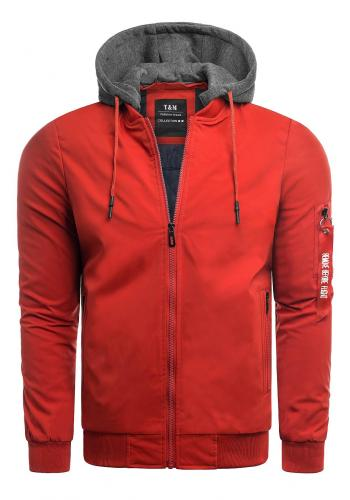 Pánské přechodné bundy s teplákovou kapucí v červené barvě