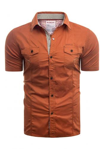 Slim fit pánská košile oranžové barvy s krátkým rukávem