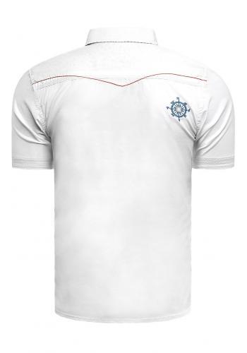 Pánská slim fit košile s krátkým rukávem v bílé barvě