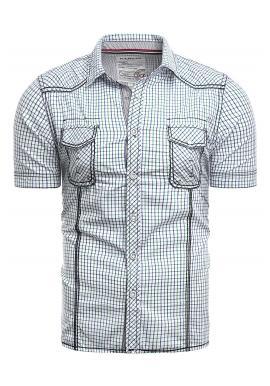 Vzorovaná pánská košile modro-zelené barvy s krátkým rukávem