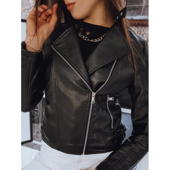 Dámská koženková bunda s prošíváním v černé barvě
