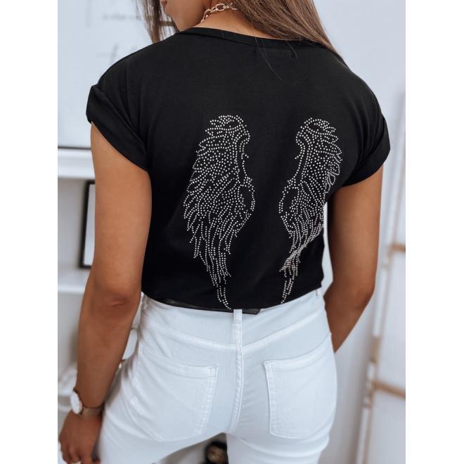 Klasické dámské tričko černé barvy se zdobením na zádech