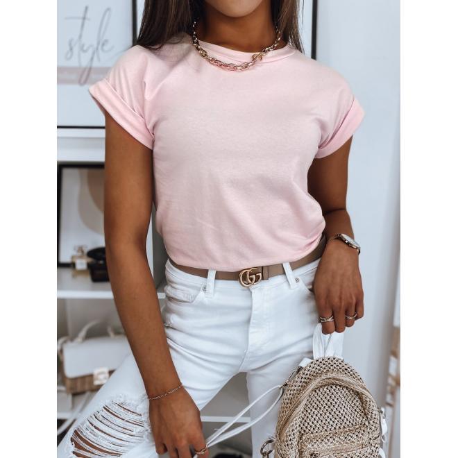 Dámské klasické tričko se zdobením na zádech v růžové barvě