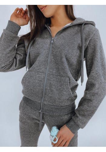 Sportovní dámská mikina tmavě šedé barvy s kapucí