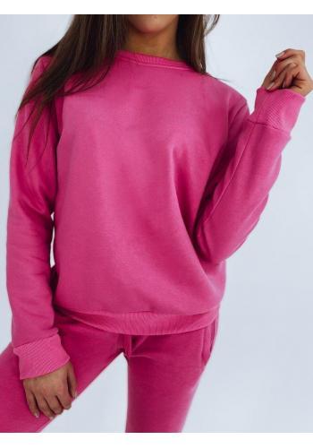 Růžové klasické mikiny bez kapuce pro dámy