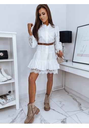Oversize dámské šaty bílé barvy s volány a krajkou